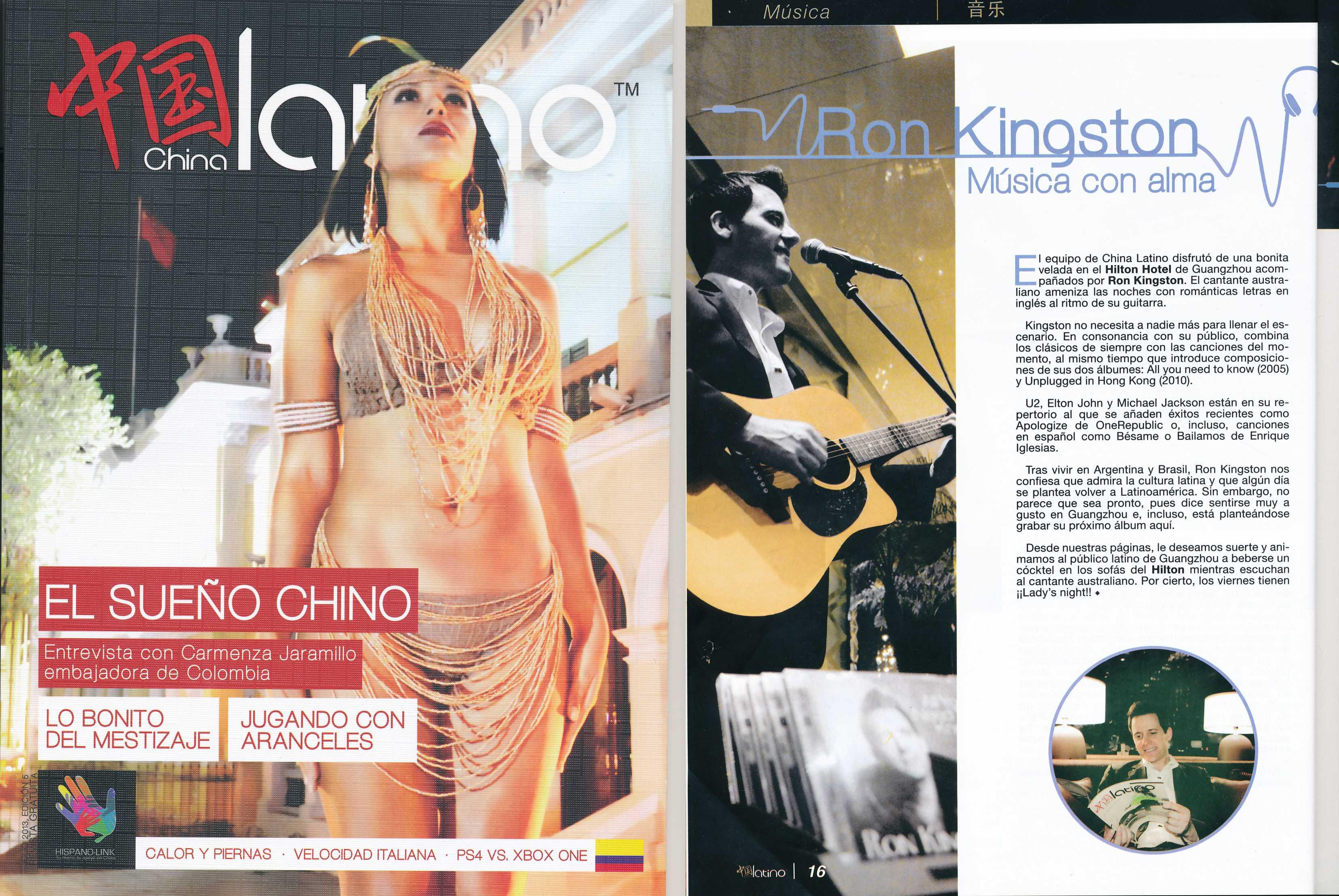 Australian singer Ron Kingston in Latino Magazine